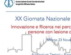 """Convegno Nazionale –  Milano, 23 Novembre -""""Innovazione e ricerca nei percorsi di inclusione sociale di persone con cerebrolesione acquisita""""."""