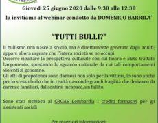 Tutti bulli? – Webinar 25 giugno 2020 con Domenico Barrilà