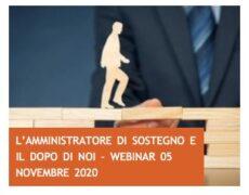 L'amministratore di sostegno e il Dopo di noi – WEBINAR 5 NOVEMBRE 2020